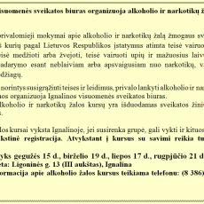 Ignalinos visuomenės sveikatos biuras organizuoja alkoholio ir narkotikų žalos kursus