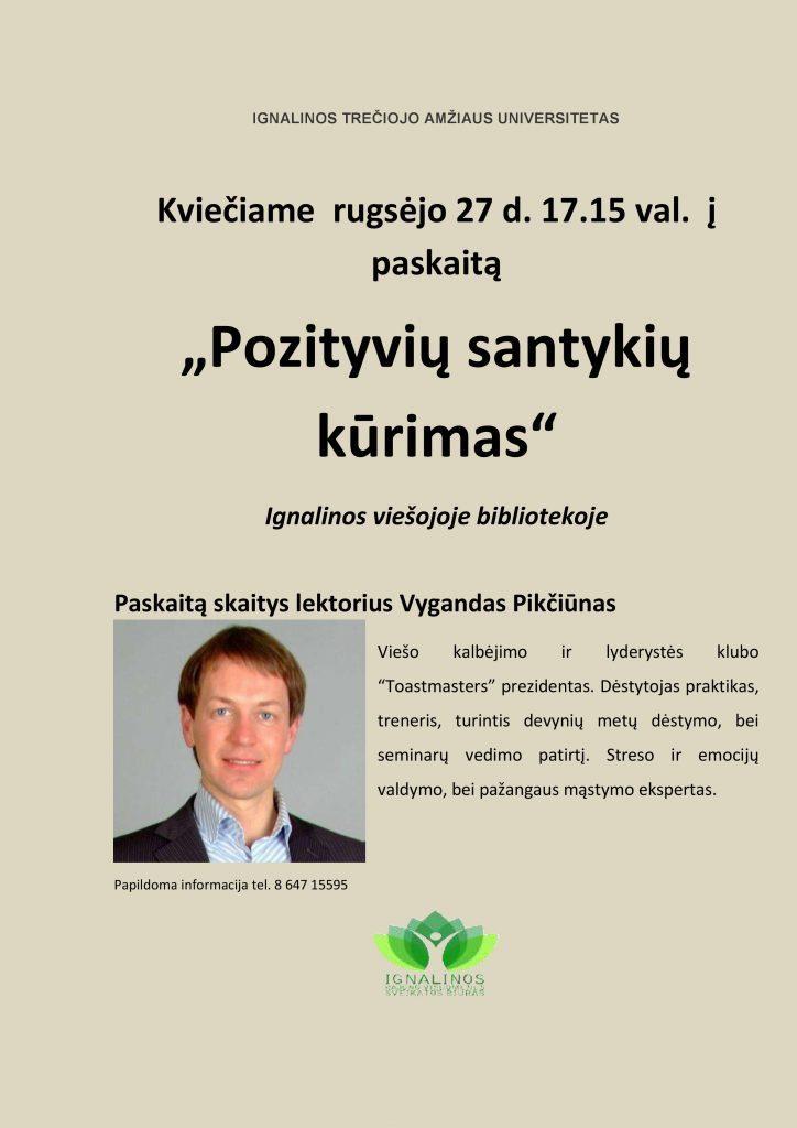 """Kviečiame rugsėjo 27 d. 17.15 val. į  paskaitą """"Pozityvių santykių  kūrimas"""" Ignalinos viešojoje bibliotekoje"""
