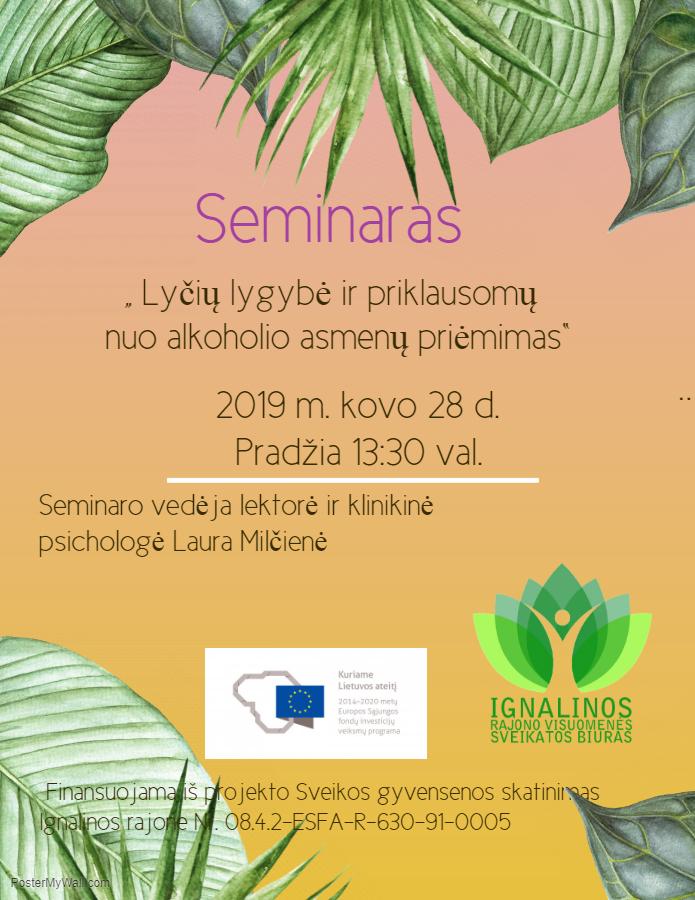 """Seminaras """"Lyčių lygybė ir priklausomų nuo alkoholio asmenų priėmimas"""""""