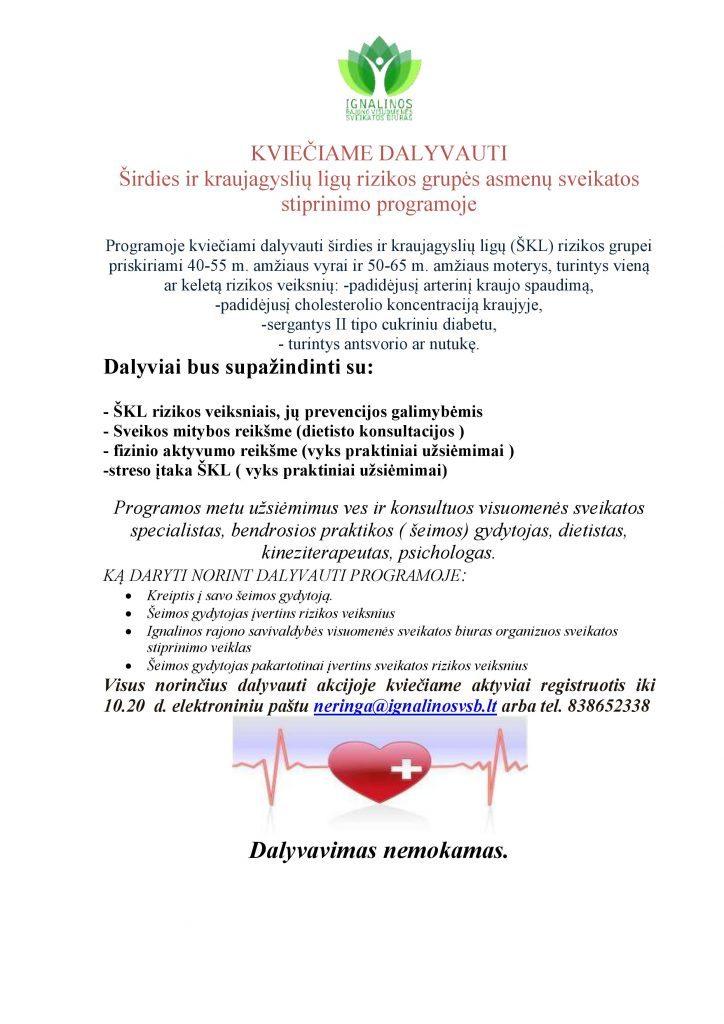 KVIEČIAME DALYVAUTI Širdies ir kraujagyslių ligų rizikos grupės asmenų sveikatos stiprinimo programoje