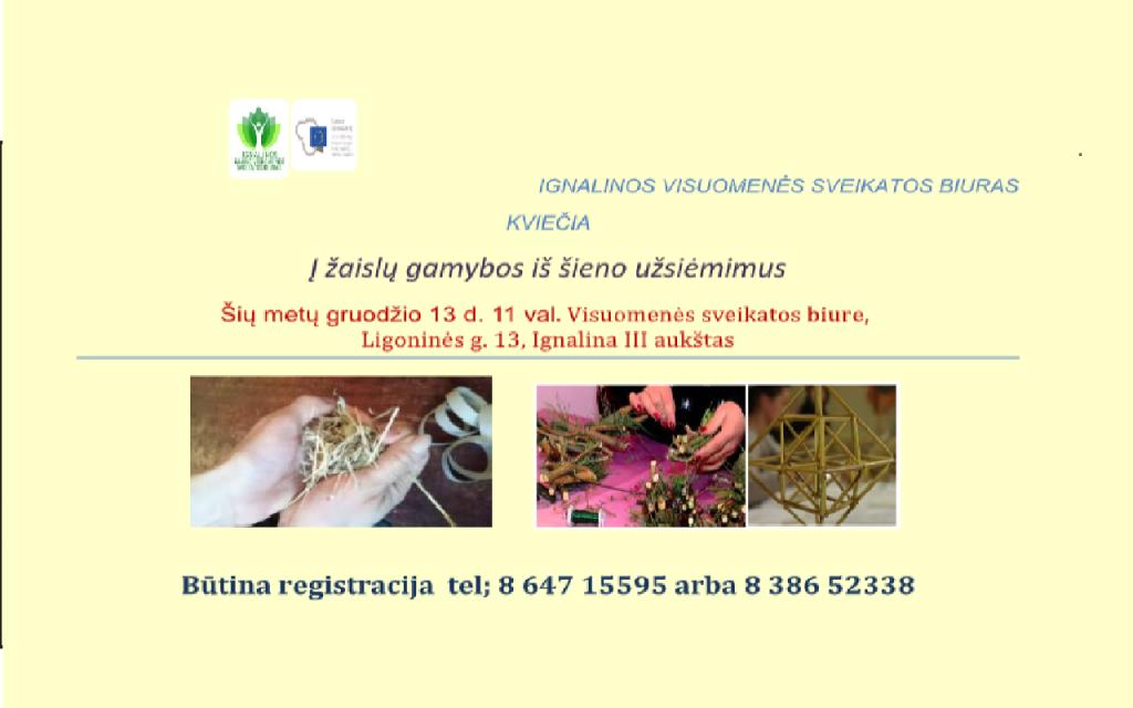 Ignalinos visuomenės sveikatos biuras kviečia į žaislų gamybos iš šieno užsiėmimus
