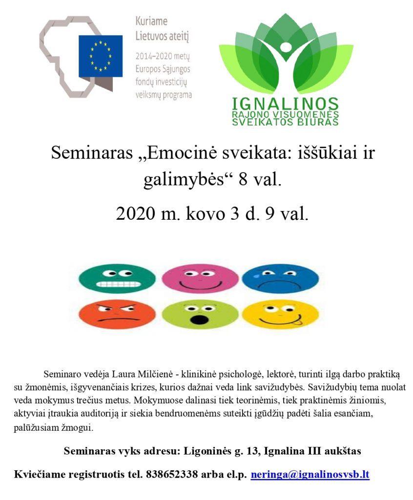 """Seminaras """"Emocinė sveikata: iššūkiai ir galimybės"""" 8 val.  2020 m. kovo 3 d. 9 val."""
