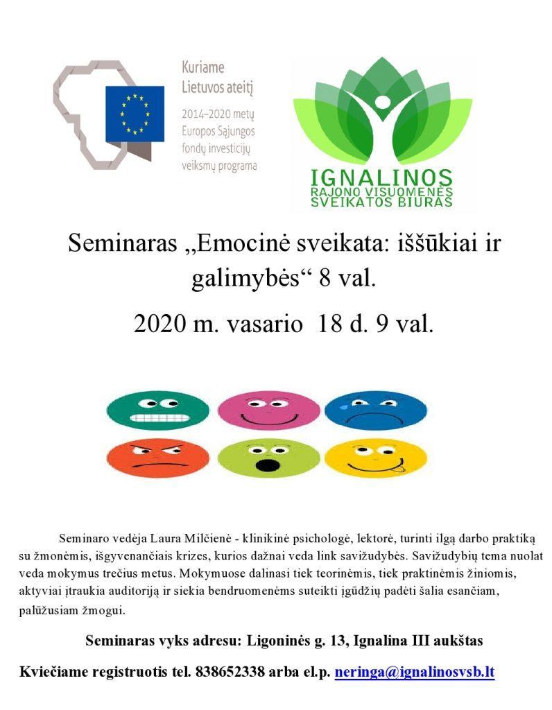 """Seminaras """"Emocinė sveikata: iššūkiai ir galimybės"""" 8 val. 2020 m. vasario  18 d. 9 val."""