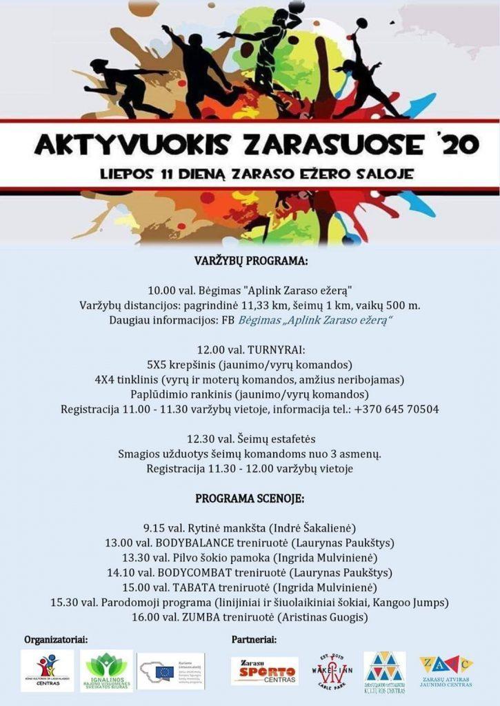 """""""AKTYVUOKIS ZARASUOSE'20""""!🏃🏀⚽🏆 Kviečiame visus, didelius ir mažus liepos 11 d. į Zaraso ežero saloje vyktančią jau antrąją Zarasų vasaros sporto šventę!"""
