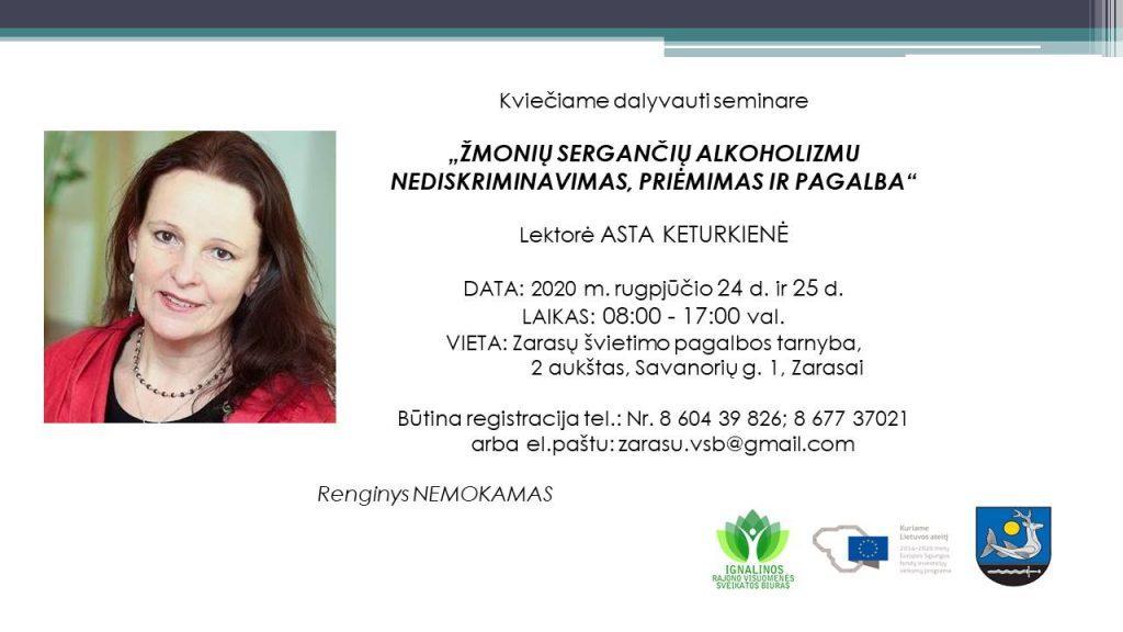 """Seminaras """"Žmonių sergančių alkohollizmu nediskriminavimas , priėmimas ir pagalba"""