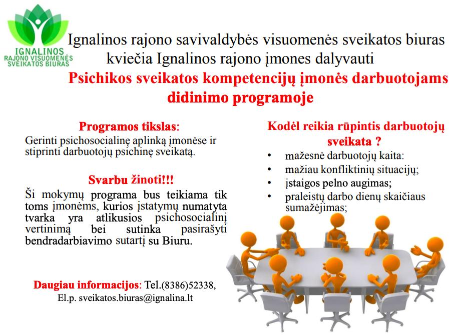 Ignalinos rajono savivaldybės visuomenės sveikatos biuras kviečia Ignalinos rajono įmones dalyvauti  Psichikos sveikatos kompetencijų įmonės darbuotojams didinimo programoje.